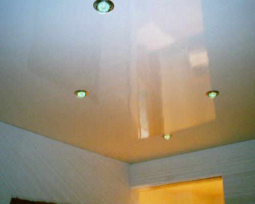 Пластиковые панели на потолке кухни